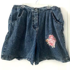 Vintage 1980's acid washed jean shorts plus size